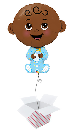 Baby Boy Dark Skin Tone Helium Foil Giant Qualatex Balloon - Inflated Balloon in a Box Product Image