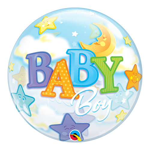 Baby Boy Moon And Stars Baby Shower Bubble Helium Qualatex Balloon 56cm / 22 in Product Image