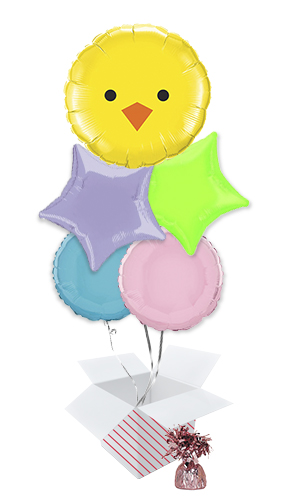 Baby Chick Easter Balloon Bouquet - 5 Inflated Balloons In A Box
