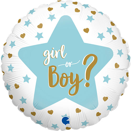 Baby Gender Reveal Two-Sided Round Foil Helium Balloon 46cm / 18 in