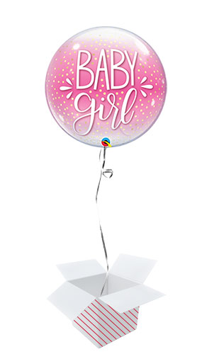 Baby Girl Confetti Dots Baby Shower Bubble Helium Qualatex Balloon - Inflated Balloon in a Box