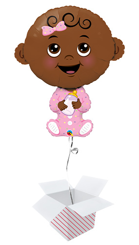 Baby Girl Dark Skin Tone Helium Foil Giant Qualatex Balloon - Inflated Balloon in a Box Product Image