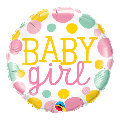 Baby Girl Dots Round Foil Helium Qualatex Balloon 46cm / 18 in