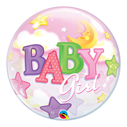 Baby Girl Moon And Stars Baby Shower Bubble Helium Qualatex Balloon 56cm / 22 in Product Image
