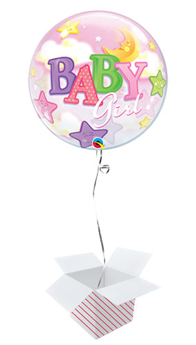 Baby Girl Moon And Stars Baby Shower Bubble Helium Qualatex Balloon - Inflated Balloon in a Box