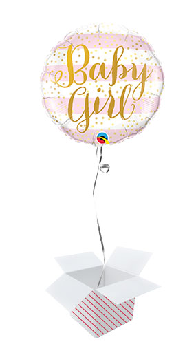 Baby Girl Pink Stripes Round Foil Helium Qualatex Balloon - Inflated Balloon in a Box Product Image