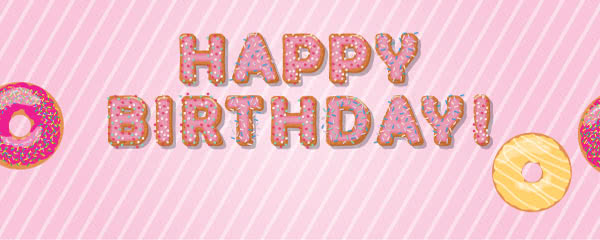 Baby Pink Happy Birthday Donuts Design Medium Personalised Banner - 6ft x 2.25ft