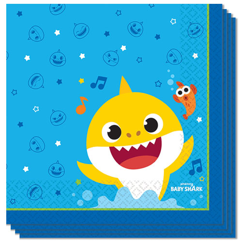 Baby Shark Luncheon Napkins 33cm 2Ply - Pack of 16