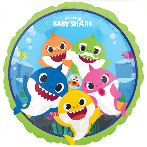Baby Shark Round Foil Helium Balloon 43cm / 17 in Product Image