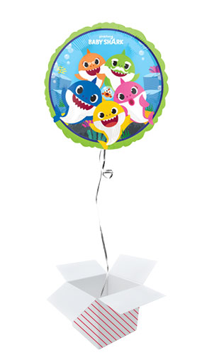 Baby Shark Round Foil Helium Balloon - Inflated Balloon in a Box Product Image