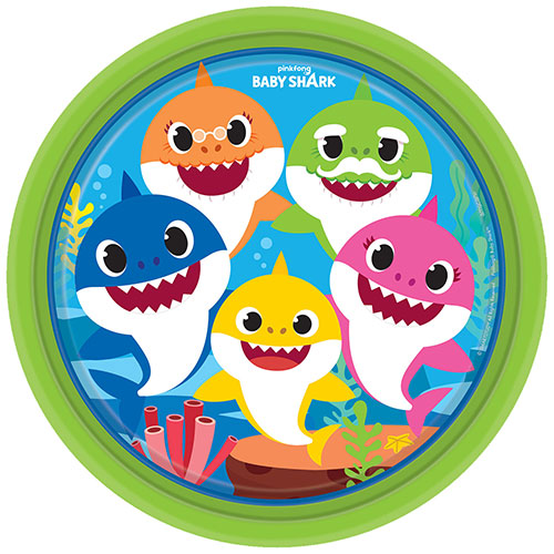 Baby Shark Round Paper Plates 23cm - Pack of 8 Product Image