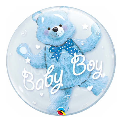 Baby Shower Blue Bear Baby Boy Double Bubble Helium Qualatex Balloon 61cm / 24 in Product Image