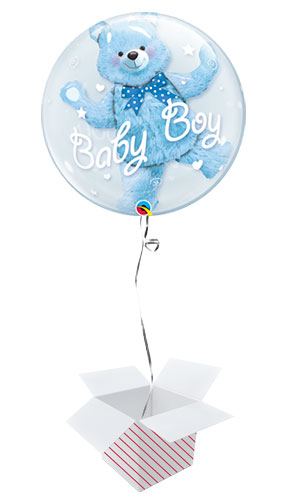 Baby Shower Blue Bear Baby Boy Double Bubble Helium Qualatex Balloon - Inflated Balloon in a Box Product Image