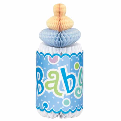 Baby Shower Blue Bottle Honeycomb Decoration - 30cm