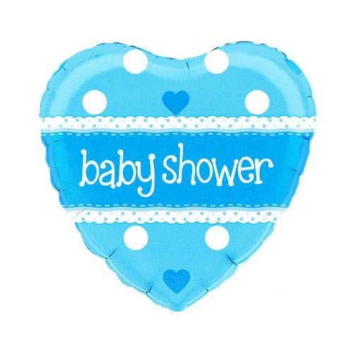 Baby Shower Blue Heart Shape Foil Helium Balloon 46cm / 18Inch Product Image