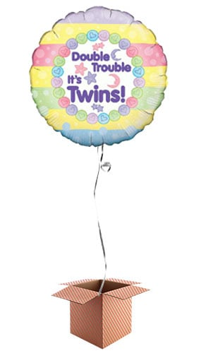 Baby Shower Double Trouble Round Foil Balloon - Inflated Balloon in a Box Product Image