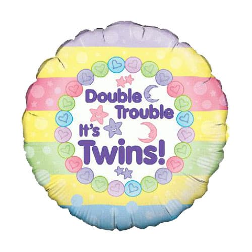 Baby Shower Double Trouble Round Foil Helium Balloon 46cm / 18Inch Product Image