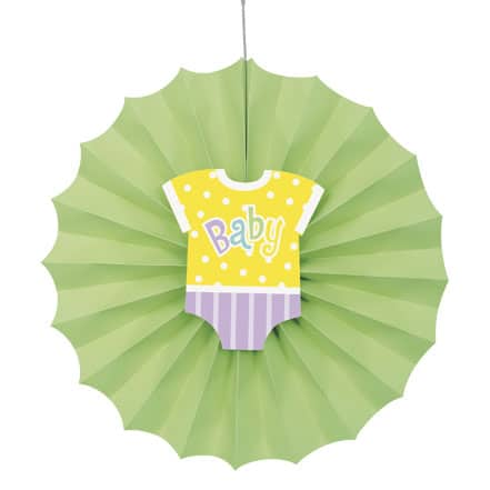 Baby Shower Green Decorative Fan - 30cm Product Image