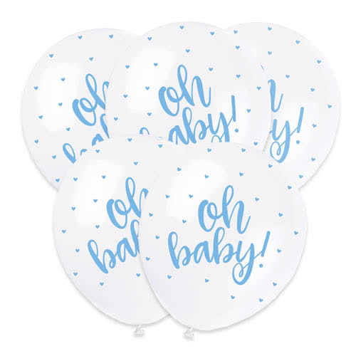 Baby Shower Oh Baby Blue Print Pearlised Biodegradable Latex Helium Balloons 30cm / 12Inch - Pack of 5 Product Image