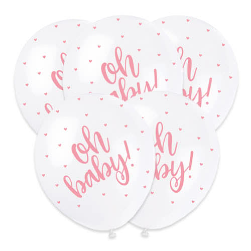 Baby Shower Oh Baby Pink Print Pearlised Biodegradable Latex Helium Balloons 30cm / 12Inch - Pack of 5 Product Image