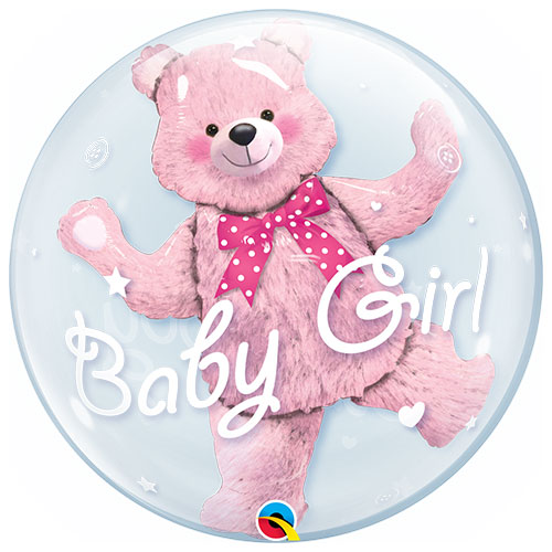 Baby Shower Pink Bear Baby Girl Double Bubble Helium Qualatex Balloon 61cm / 24 in Product Image