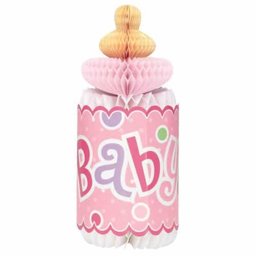 Baby Shower Pink Bottle Honeycomb Decoration - 30cm Product Image
