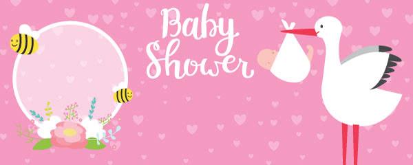 Baby Shower Pink Design Medium Personalised Banner - 6ft x 2.25ft
