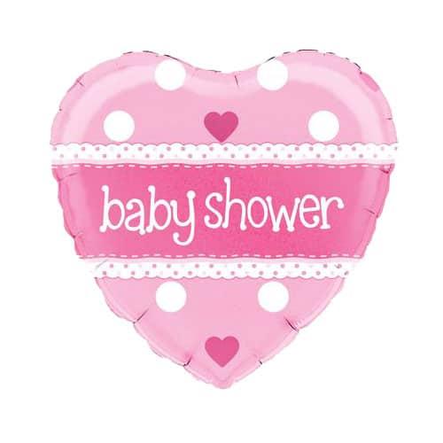 Baby Shower Pink Heart Shape Foil Helium Balloon 46cm / 18Inch