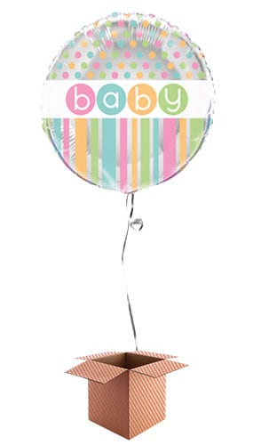 Baby Shower Round Foil Balloon - Inflated Balloon in a Box Product Image