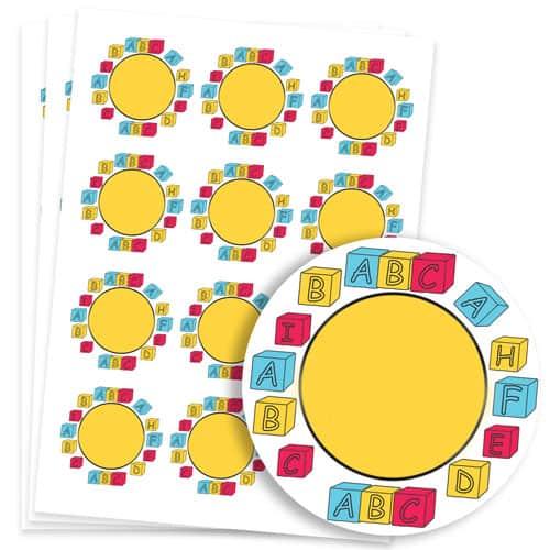 Building Blocks Design 60mm Round Sticker sheet of 12