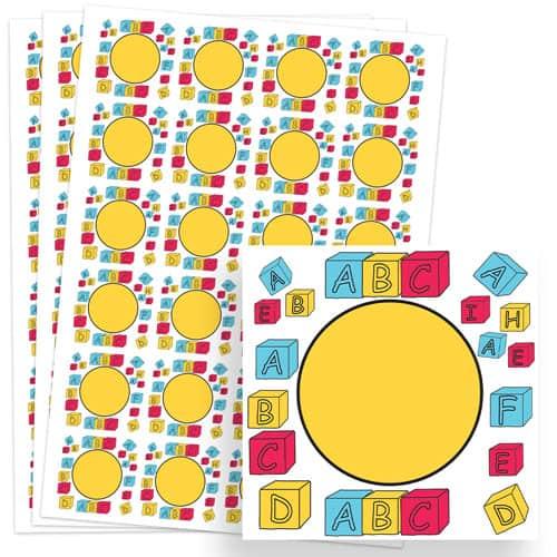 Building Blocks Design 40mm Square Sticker sheet of 24