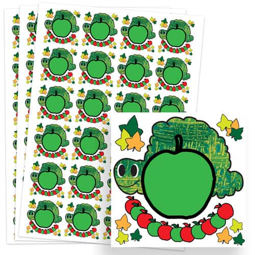 Caterpillar Design 40mm Square Sticker sheet of 24 Product Image