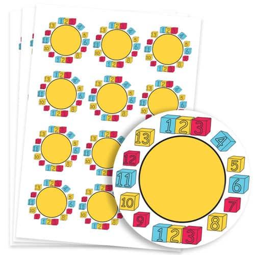 Numbers Design 60mm Round Sticker sheet of 12