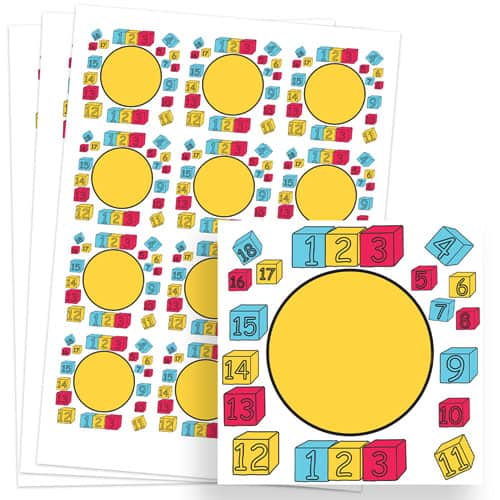 Numbers Design 65mm Square Sticker sheet of 12