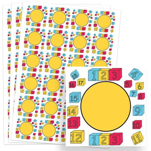 Numbers Design 40mm Square Sticker sheet of 24