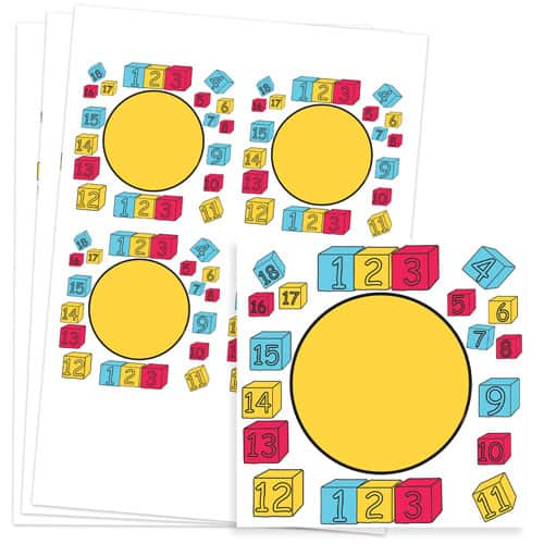 Numbers Design 95mm Square Sticker sheet of 4
