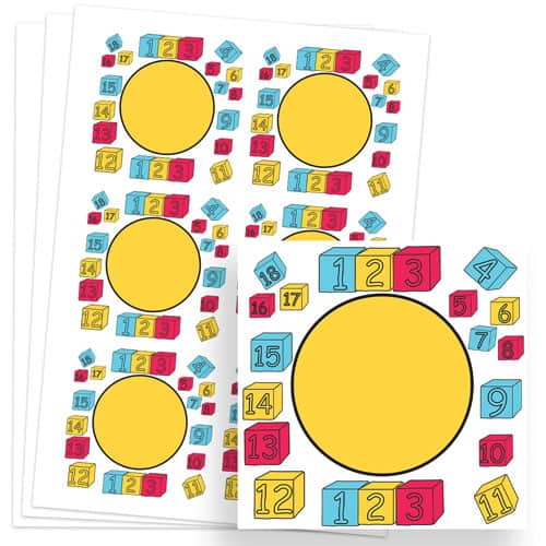 Numbers Design 80mm Square Sticker sheet of 6