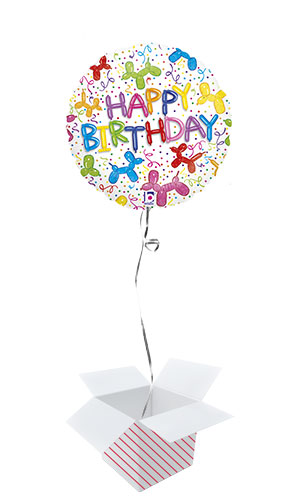 Balloon Dog Birthday Holographic Round Foil Helium Balloon - Inflated Balloon in a Box Product Image