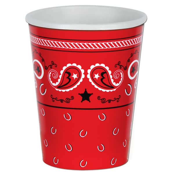 Bandana Theme Paper Cups 266ml - Pack of 8 Product Image
