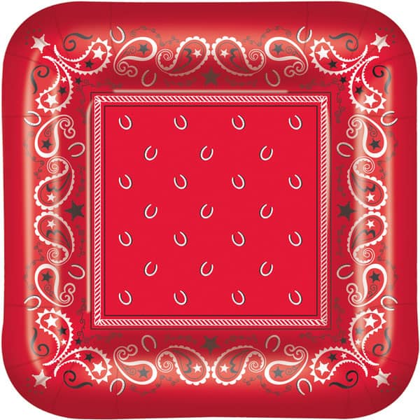 Bandana Theme Square Paper Plates 23cm - Pack of 8 Product Image