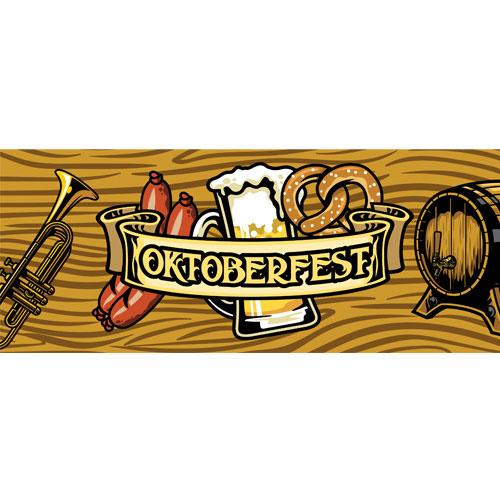 Barrel & Trumpet Oktoberfest Large PVC Banner Decoration 3m x 1.2m Product Image