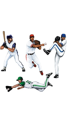 Baseball Decorative Cutouts - 20 Inches / 51cm - Pack of 4