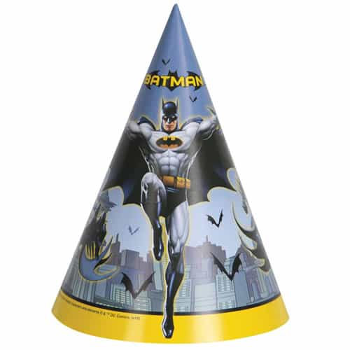 Batman Cone Party Hats - Pack of 8