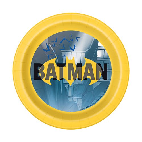 Batman Round Paper Plates 17cm - Pack of 8 Product Image