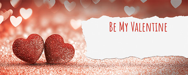 Be My Valentine Glitter Hearts Design Medium Personalised Banner – 6ft x 2.25ft