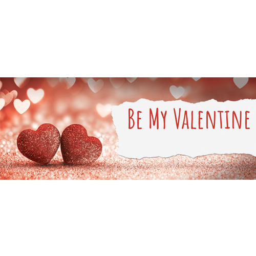 Be My Valentine Glitter Hearts PVC Party Sign Decoration 60cm x 25cm