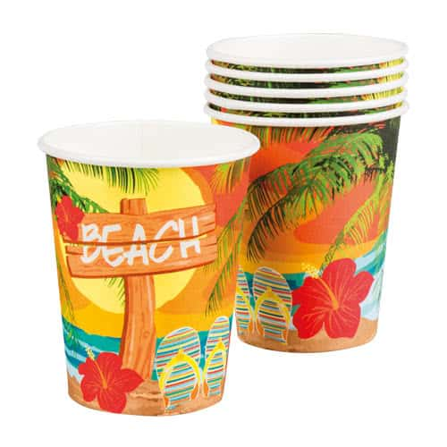 Beach Party Paper Cups 250ml - Pack of 6 Product Image