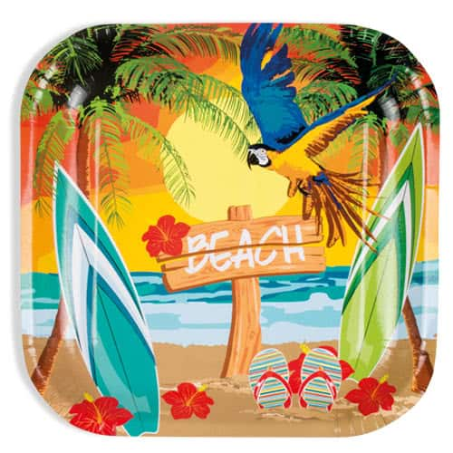 Beach Party Square Paper Plates 23cm - Pack of 6
