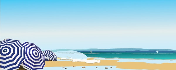 Umbrella and Beach Design Small Personalised Banner - 4ft x 2ft