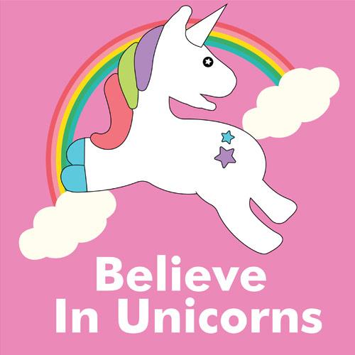 Believe In Unicorns Pink PVC Party Sign Decoration 20cm x 20cm Product Image